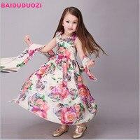 Kids Dresses For Girls Summer Chiffon Bohemian Vest Dresses Children Print Vestidos Teen Girls Beach Dresses