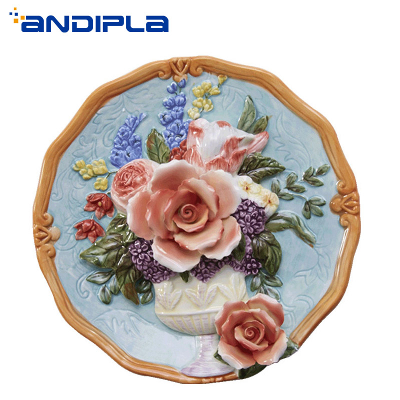 8 inch Pastoral Ceramic Emboss Rose Flower Decoration Plate Living Room Wall Hanging Dish Home Adornment Desktop Ornament Crafts