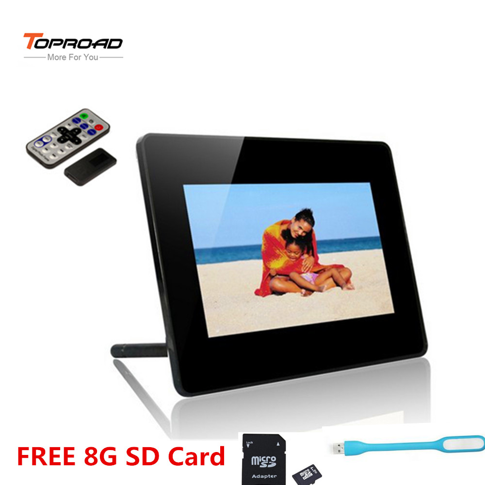 8 inch tft lcd hd digital photo frame desktop picture frames built in loudspeaker clock