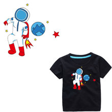 Boy Child Astronaut Clothing Patches DIY T-shirt Ironing Appliques Vinyl Clothes Heat Transfer Sticker Accessories Thermal Press