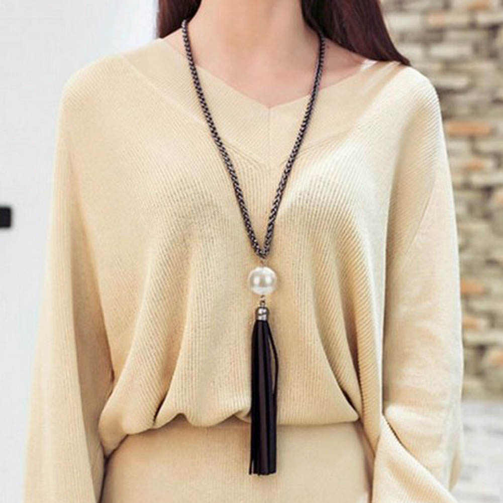 Accessory Trendy Classical Special Imitation Pearl Pendant Beads Leather Tassels Big Pendant Original Necklace
