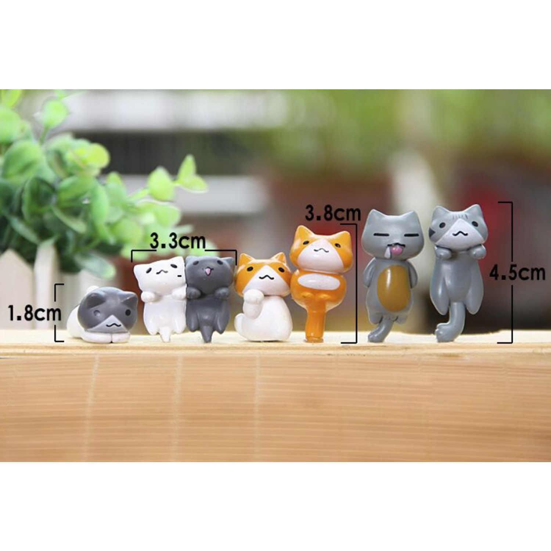 Besegad 6 pcs Mini Brinquedos do Gato Bonito Figuras de Coco Do Bolo para DIY Micro Paisagem Bonsai Ornamento Do Jardim de Fadas Decoração Do Bolo favor de partido