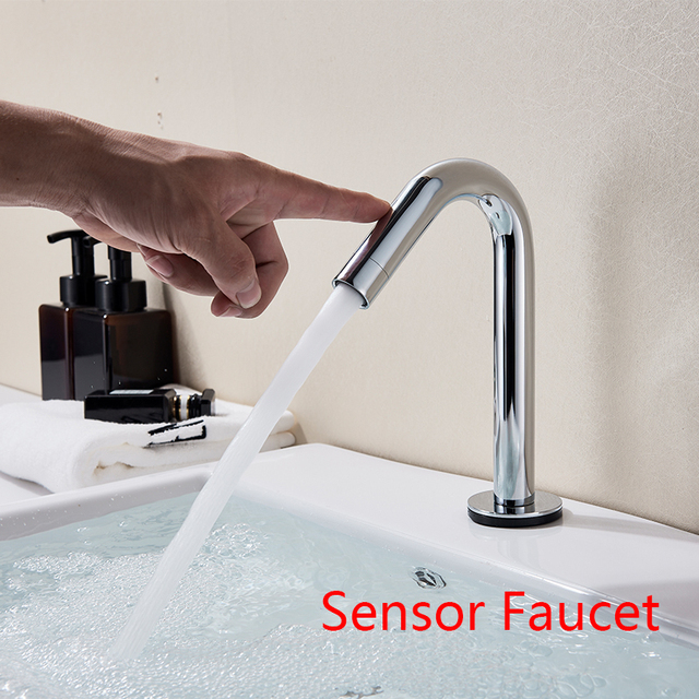Attirant Basin Faucets Sensor Automatic Infrared Bathroom Sink Faucet Touchless Deck  Single Cold Tap