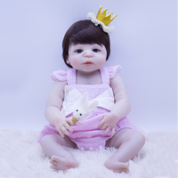 57cm Little fairy Baby Reborn Doll whole Silicone Body Bebe Doll Kit DIY Toys for sale Lifelike Soft pink clothes Princess girl