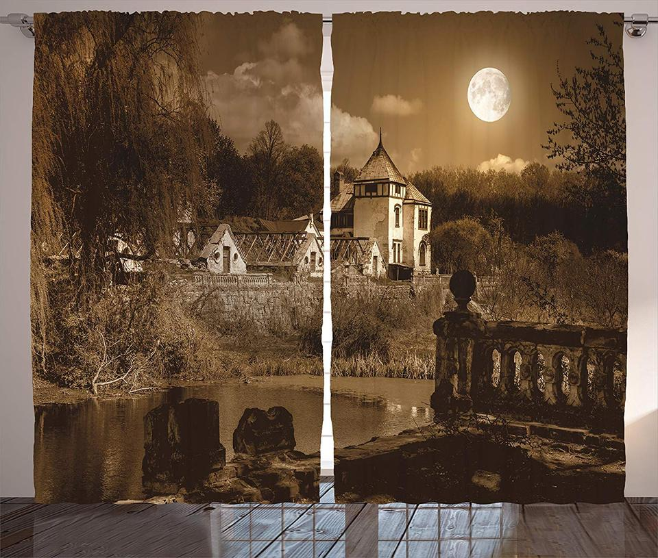 Dining Room Curtains Gothic Decor Old Ancient Medieval House In