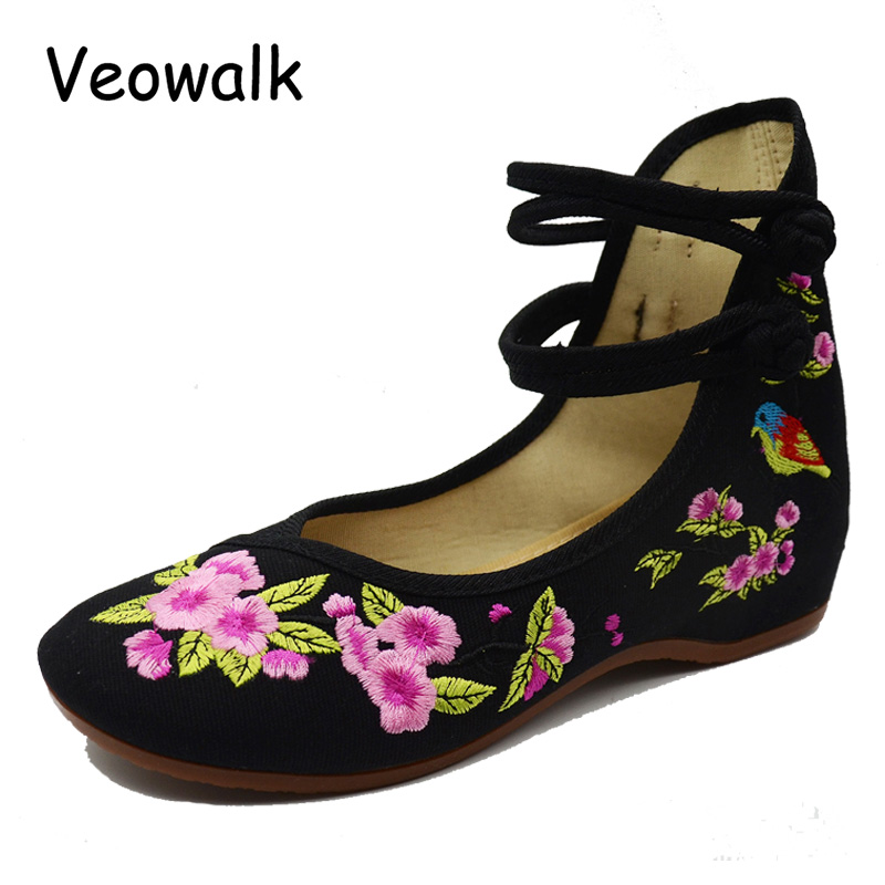 Veowalk Women Flower Embroidery Cotton Cloth Shoes Mary Jane Ladies Vintage Chinese Style Soft Walking Flats Zapatos Mujer 20 21mm solid curved end stainless steel screw links wrist watch band bracelet strap glide flip lock deployment clasp buckle