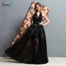 Dressv black v neck backless evening dress floor length appliques a line wedding party formal dresses