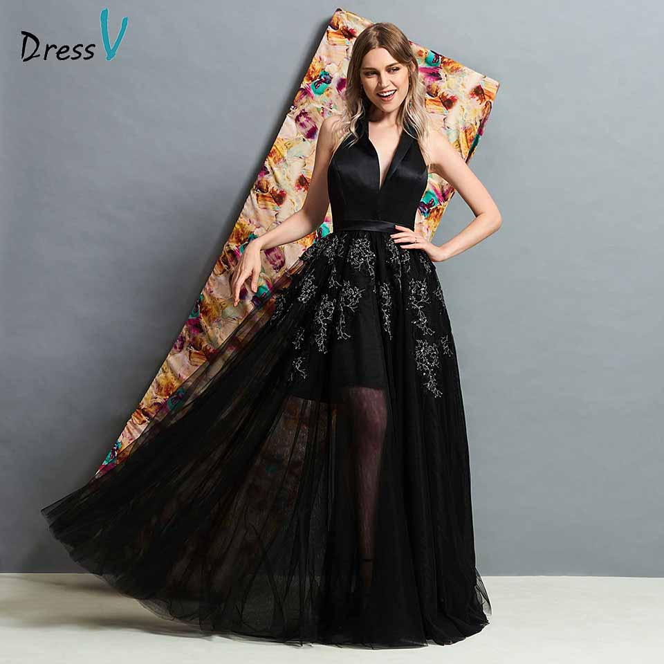 Dressv black v neck backless   evening     dress   floor length appliques a line wedding party formal   dress     evening     dresses