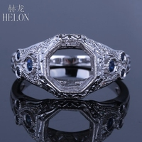 HELON Solid 14k White Gold 0.25ct Natural Diamonds & Sapphire 8mm Round Cut Ladies Jewerly Fancy Engagement Semi Mount Fine Ring