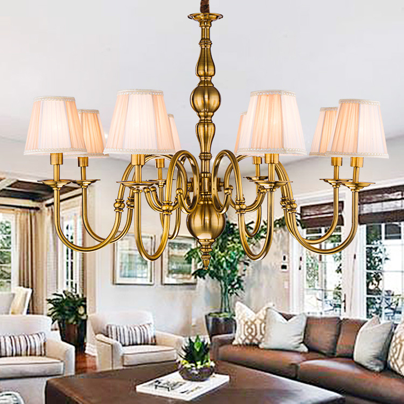 Electric gold-plated bronze modern minimalist Iron Chandelier European creative living room bedroom restaurant swan Chandelier electric iron ladomir 64k