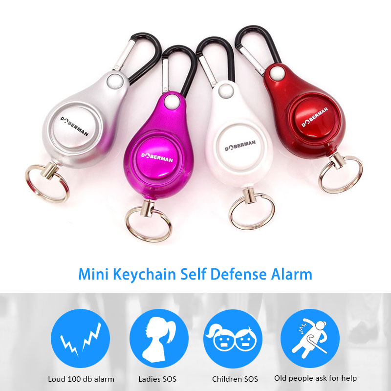Doberman Security Self Defense Alarm Keychain Personal Security Alarm Pull Ring Triggered Anti-attack Safety Emergency Alarm