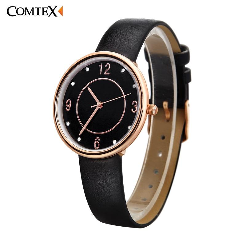 COMTEX Quartz Brand Lady Watches Women Luxury Antique Square Wrist Women watch Simple Leather Casual Dress