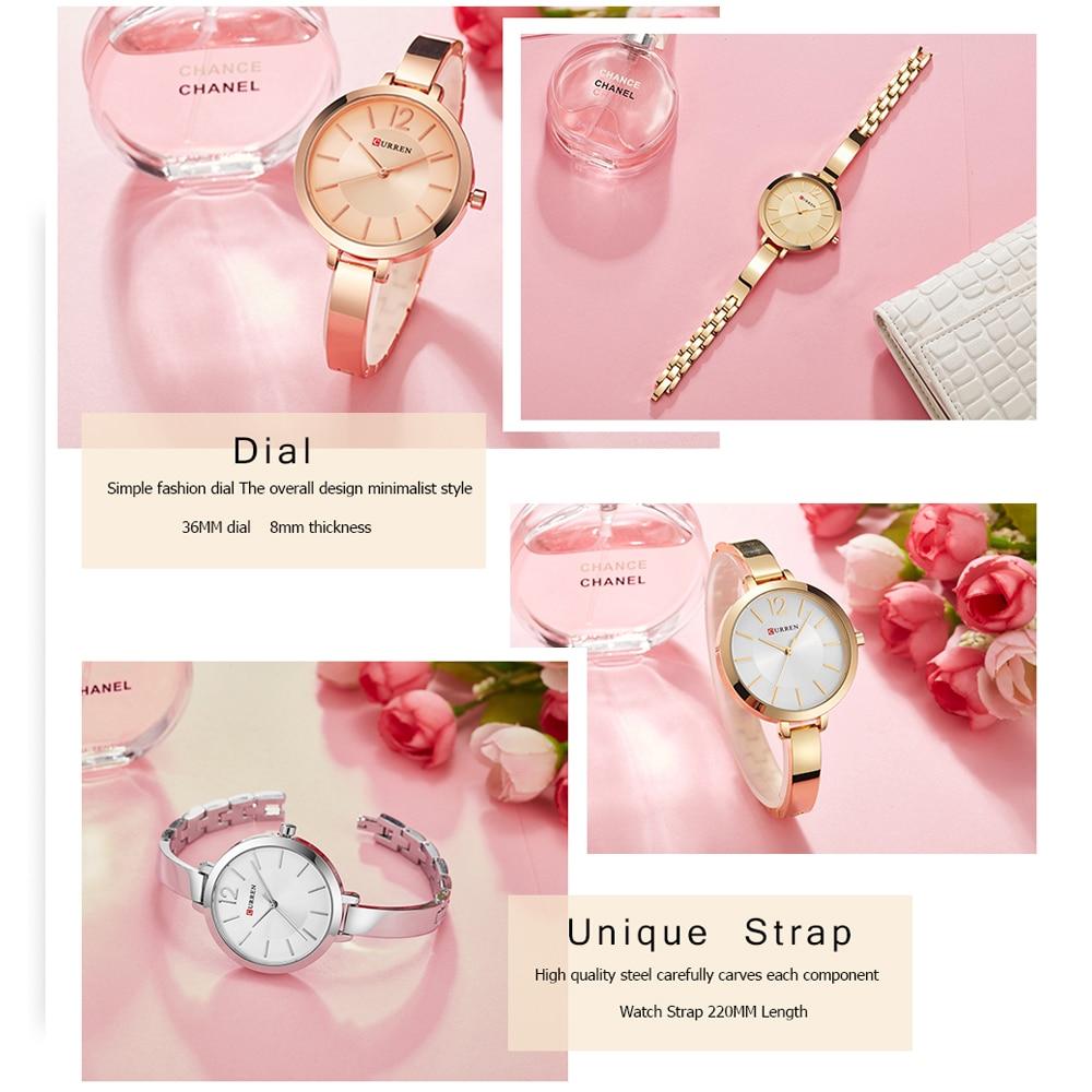 2019 New CURREN Women Watches Luxury Brand Rose Gold Simple Quartz Watch Ladies Fashion Casual Female Clock Relogios Femininos