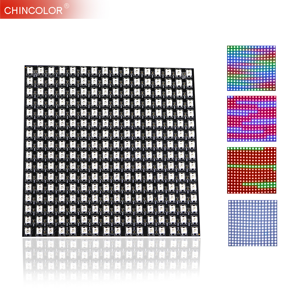 WS2812B WS2812 LED Panel Digital Flexible Matrix 16*16 256 Pixels Individually Addressable DC5V 5050 RGB Full Dream Color UW