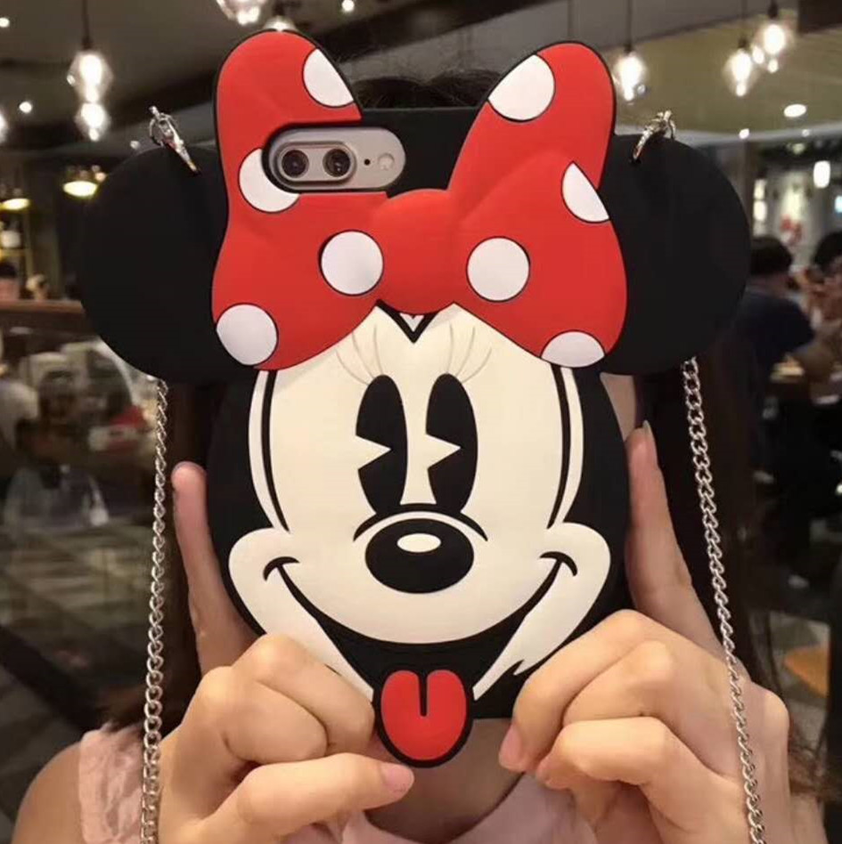 For iPhone X Case Silicone 3D Minnie Mickey Mouse Cartoon Soft Phone Back Skin Cover For iPhone 6 6S 6SPlus 7 7plus 8 8Plus Case