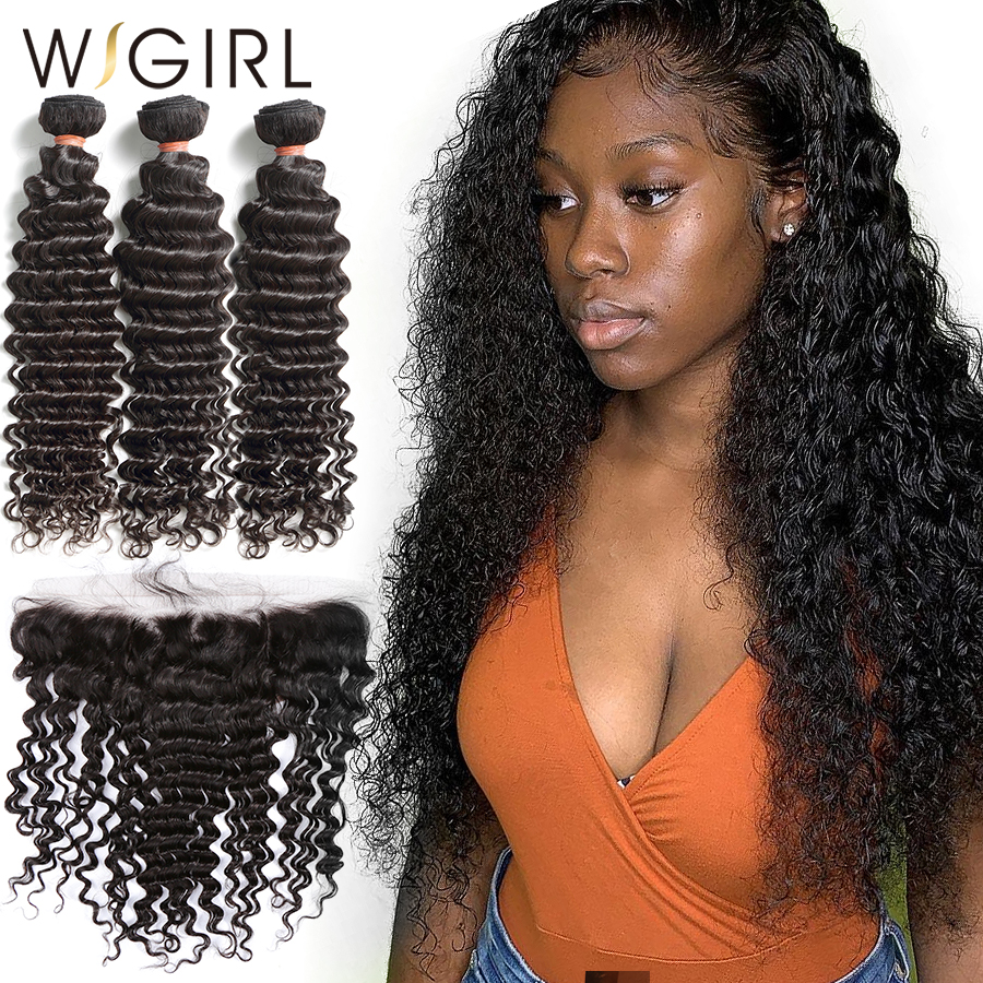 Wigirl 28 30 Inch Brazilian Virgin Deep Wave human Hair Weave Bundles With 13X4 Frontal Lace Closure Water Wave Curly Extension
