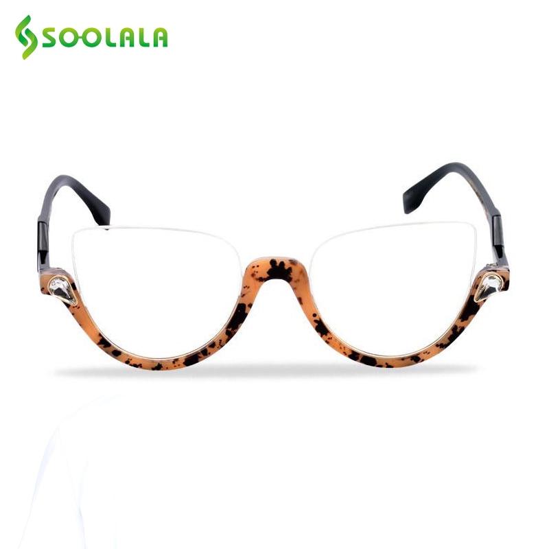 SOOLALA Semi-Montura de ojo de gato gafas de lectura de las mujeres de los hombres + 1,0, 1,25, 1,5, 1,75, 2,25 a 4,0, lente claro gafas marco de gafas de lectura