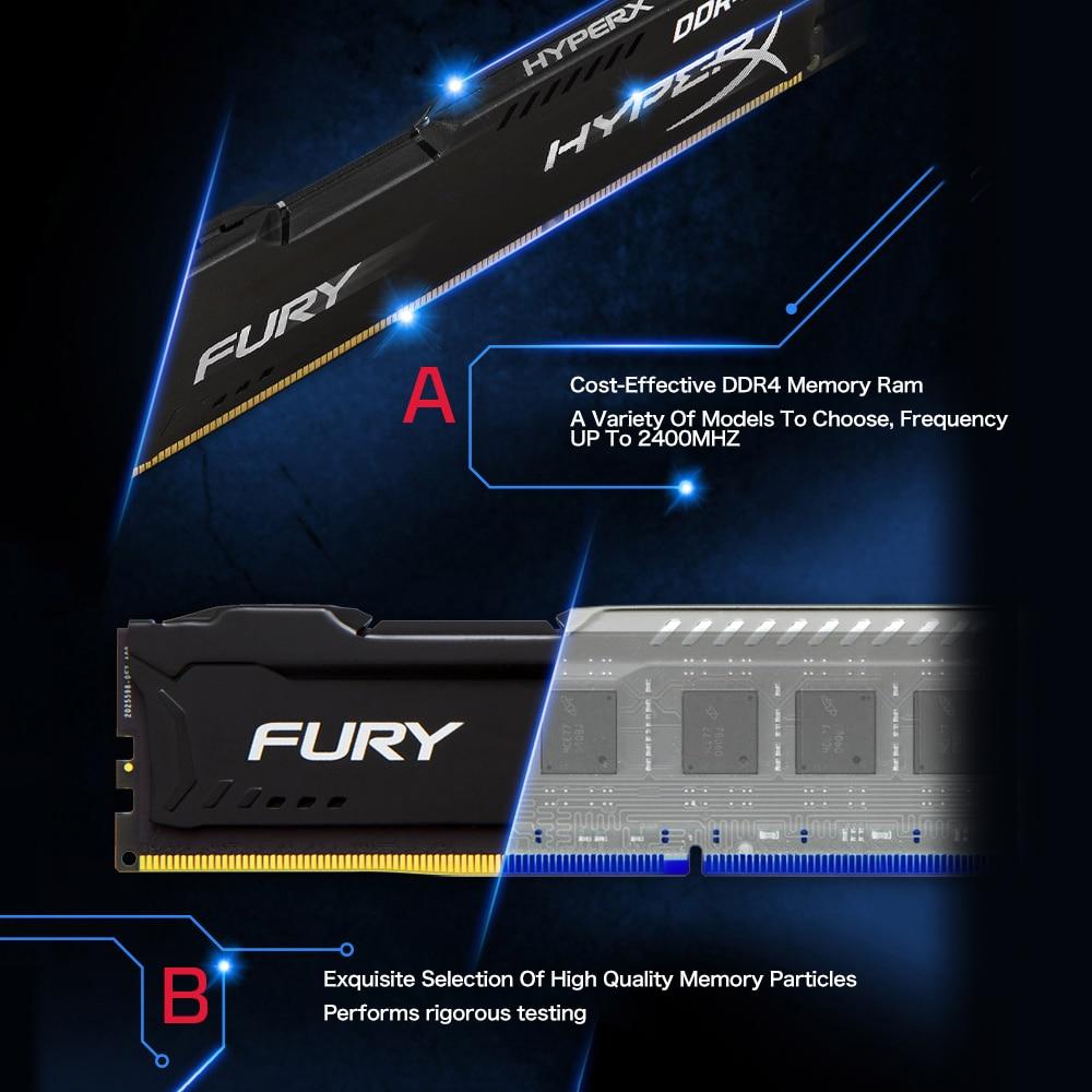 Kingston HyperX FUREUR 4 GB 8 GB 16 GB DDR4 2400 MHz PC mémoire ram DIMM 288 broches ram de bureau mémoire interne RAM Pour Ordinateur Jeux Ram - 6