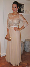 Graceful Dreiviertel Sleeves O-ansatz Appliques Wulstige Spitze A-Line Chiffon-Formales Patry Kleid Abendkleid JYT1344
