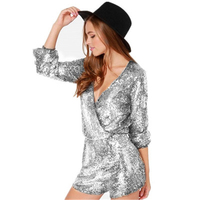 Chic Gold Sequin Wrap Long Sleeve Romper Women 2019 Summer Short Rompers Low Cut V Neck Party Clubwear Sexy Playsuits Jumpsuit