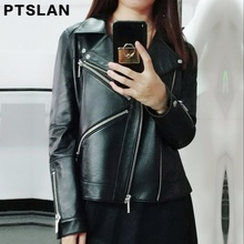 Ptslan Brand Motorcycle Genuine Leather Jacket Women Winter And Autumn New Fashion Coat Zipper Outerwear Jacket New 2017 Coat