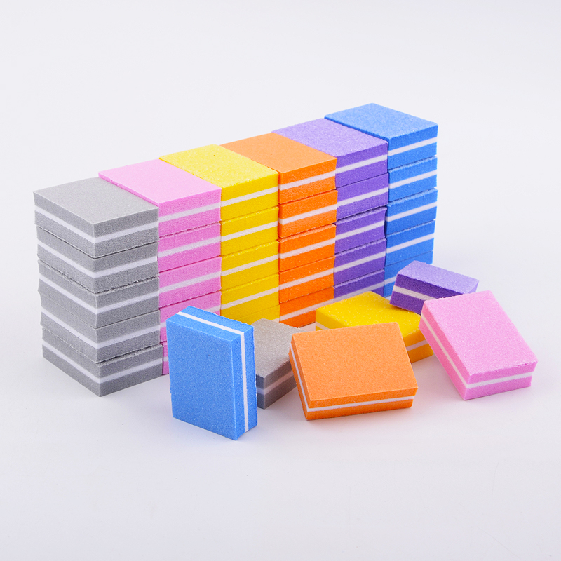 20pcs/lot Double-sided Mini Nail File Blocks Colorful Sponge Nail Polish Sanding Buffer Strips Nail Polishing Manicure Tools