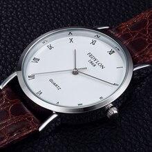 FEDYLON Nueva Moda Reloj de Los Hombres Correa De Cuero Elegante Estilo Británico Simple Reloj de Pulsera de Cuarzo Casual de Negocios Masculino Del Relogio Feminino