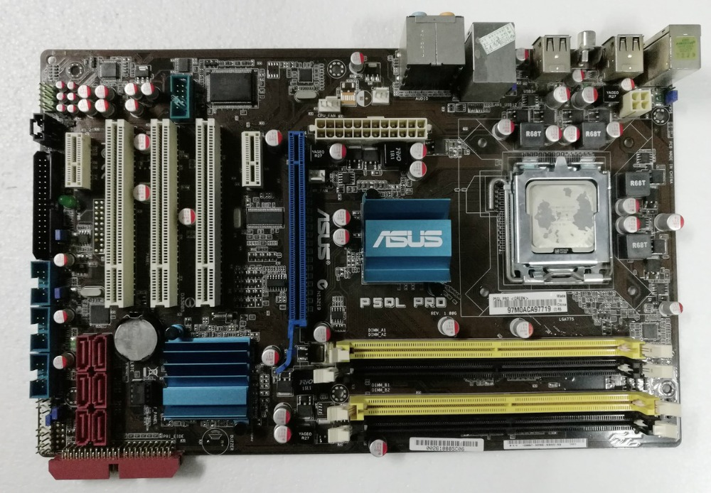 Free shipping 100% original desktop motherboard ASUS P5QL PRO DDR2 LGA 775 RAM 16G Desktop mainboard original used desktop motherboard for asus p5ql pro p43 support lga7756 ddr2 support 16g 6 sata ii usb2 0 atx