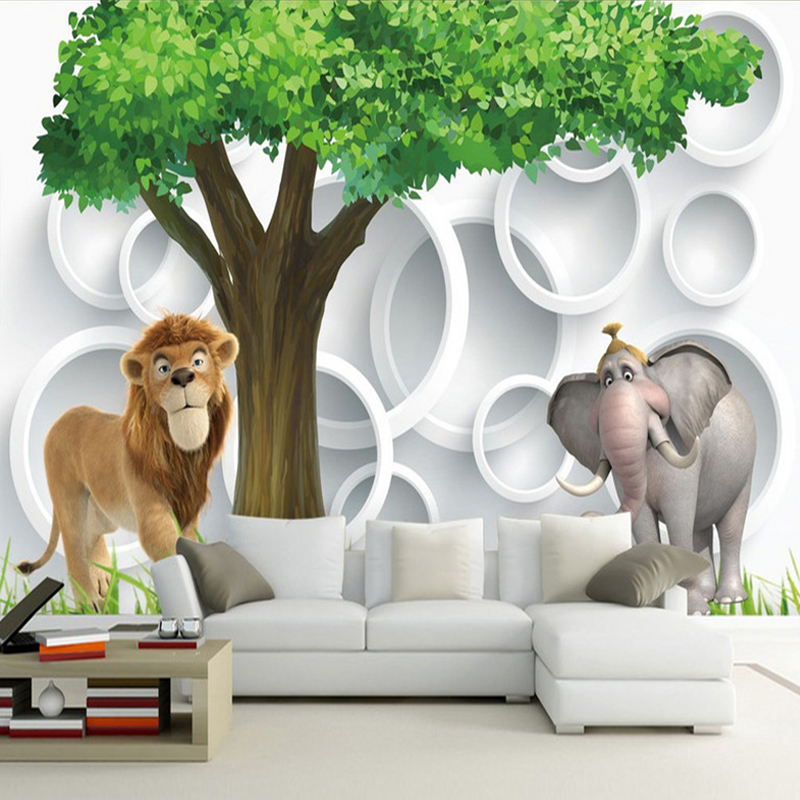 Custom 3D Photo Wall Paper Modern Simple 3D Lion Elephant Living Room TV Background Wallpaper Children's Room Bedroom Wall Mural custom photo wall paper 3d modern tv background living room bedroom abstract art wall mural geometric wall covering wallpaper