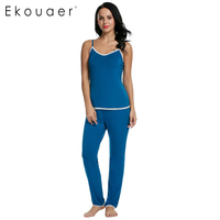 Ekouaer Pajamas Women Autumn Sleepwear Long Pant V Neck Pajamas Set Sleepwear Loungewear S M L