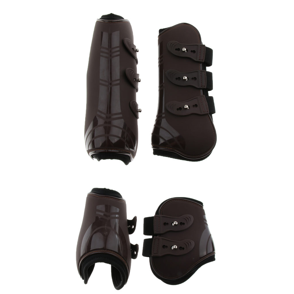 1 Set Pony Horse Riding Tendon And Fetlock Boots Hind & Front Leg Protection Tendon Protect Support Wrap Adjustable Belt Cover