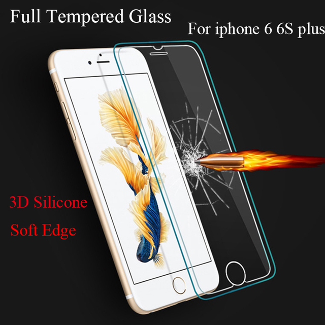 online retailer 24cab 3a1f7 US $4.11 21% OFF Anti Scratch Full Cover 3D Silicone Rubber TPU Edge  Tempered Glass front Screen Protector for iPhone 6 6s Plus 4.7 inch 5.5  inch-in ...