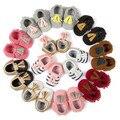 2017 Nuevo parche de la Marca patrón PU Cuero Newborn Infant Toddler Kid Primeros Caminante Arco Bebé Mocasines de suela Suave vestido de las muchachas zapatos