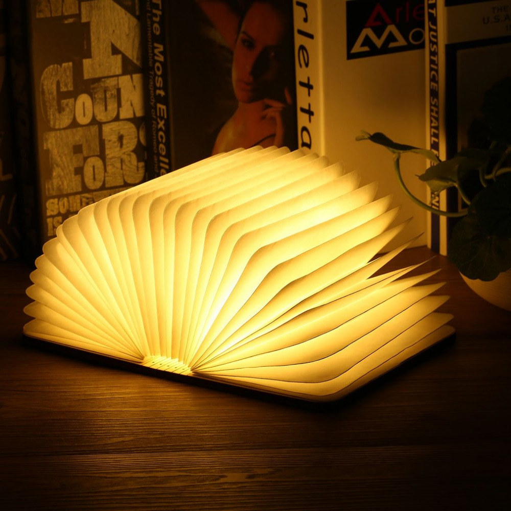 Innovative USB Rechargeable LED Foldable Wooden Book Shape Desk Lamp Nightlight Booklight for Home Decoration Warm White Light