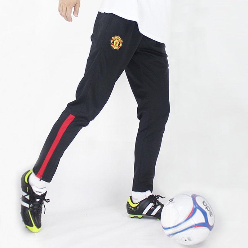 bdbe9cbde7662 De calidad superior 100% poliéster pantalones de entrenamiento de fútbol  para hombre Jogging deporte pantalones pantalones de fútbol recoger piernas  ...