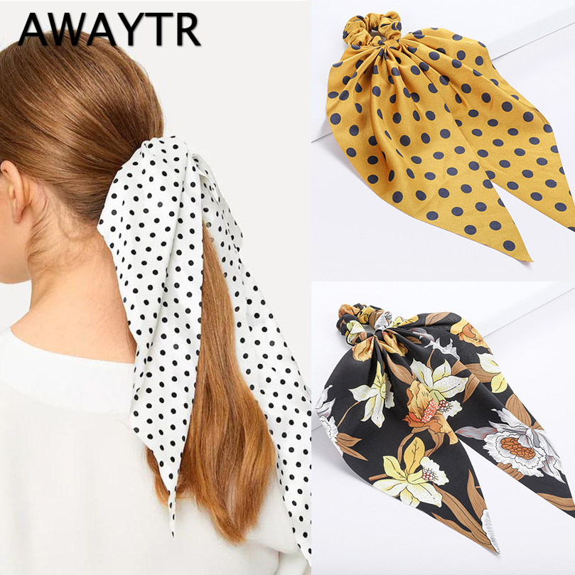 AWAYTR New Polka Dot Hair Tie Knot Floral Hairband For Women Hair Scarf Ponytail Holder Scrunchies Girls Hair Accessories