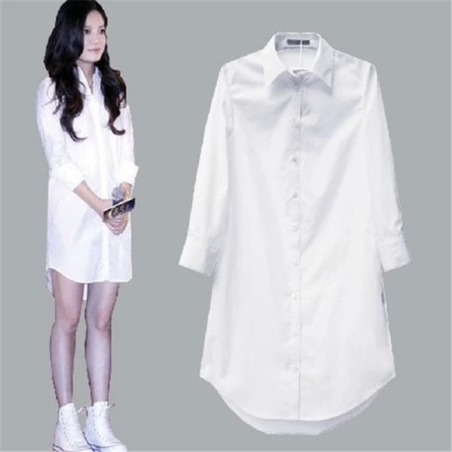 My NewIn 4XL 5XL Plus Size Women Blouse Shirt Long Sleeve White Solid Loose Long Version Casual Top 1