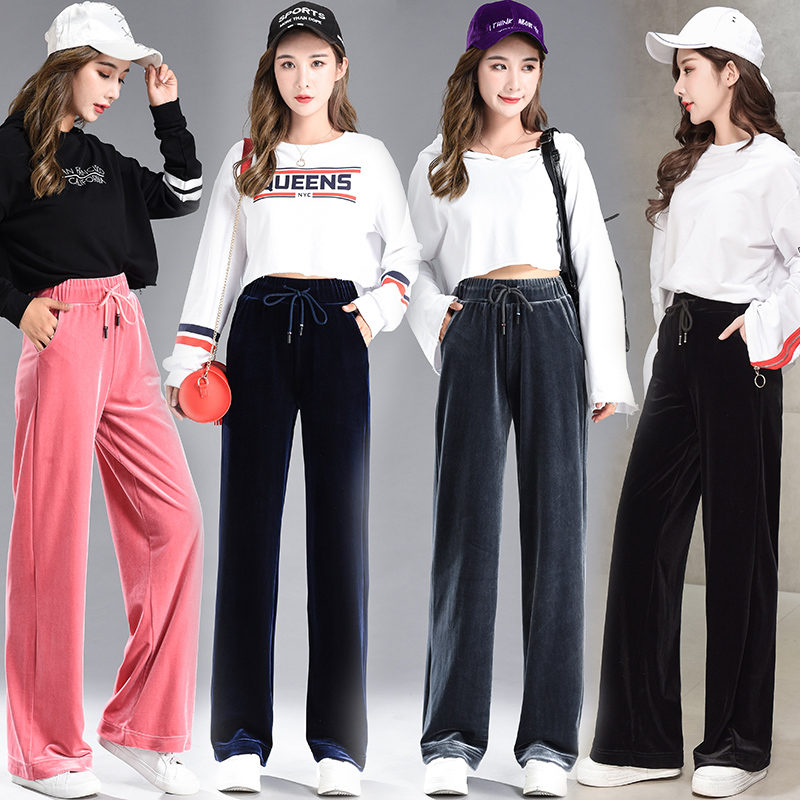 Fashion Velvet   Pants   Women Autumn Winter Casual Loose   Wide     Leg     Pants   High Waist Trousers   Pants   Elastic Waist   Pants   Bottoms