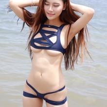 Бикини японский косплей Sukumizu школьный студенческий купальник женский вырезанный полый бандаж три точки сексуальный пляжный микро бикини