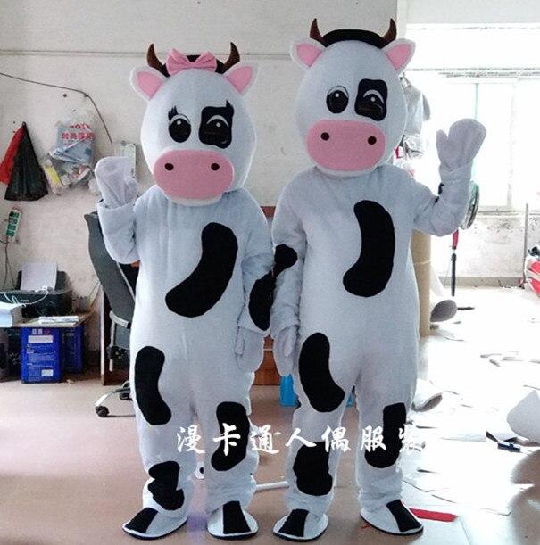 Haute qualité vente chaude vache mascotte Costume taille adulte Halloween noël fête d'anniversaire Performance Costume fantaisie robe