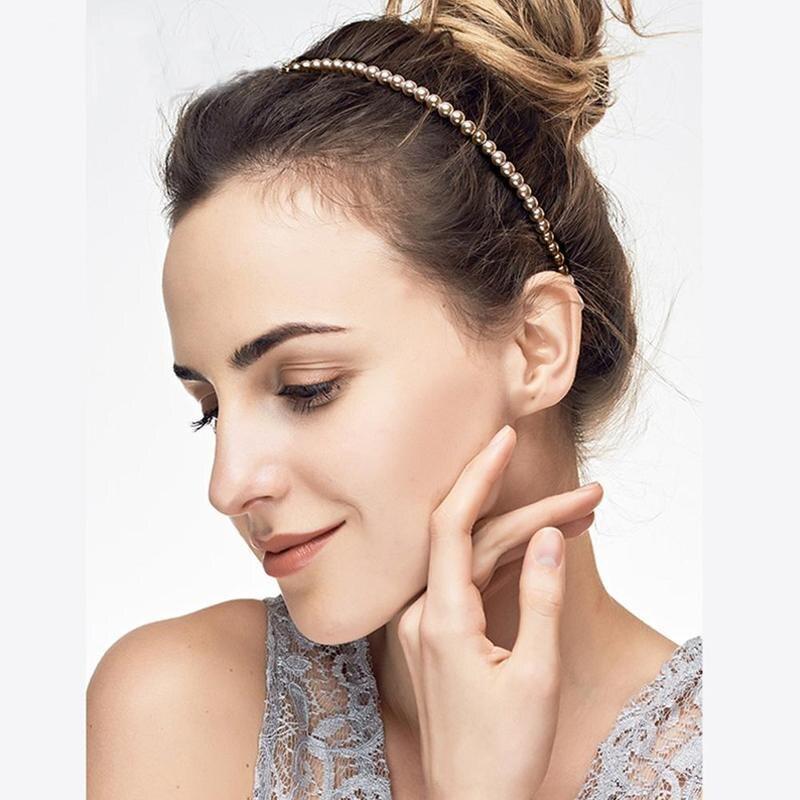 Женская Имитация Большой жемчуг повязка на волосы для девушек аксессуары для волос женский элегантный свадебный ободок вечерние Свадебные обруч для волос - 2