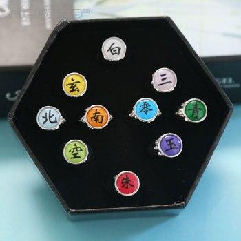 Anime Cartoon Naruto pierścienie Akatsuki państwa Cosplay pierścienie metalowe model figurki kolekcjonerskie 10 sztuk/zestaw