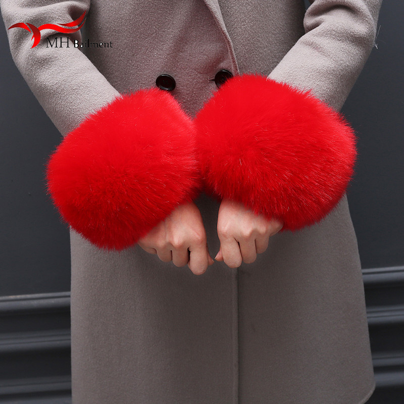 2019 Winter Fashion Black Fox Fur Cuffs Authentic Female Fox Fur Cuffs Women's Ladies Bracelet Wristband Arm Warm M1