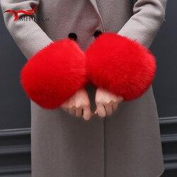 Puños de piel de zorro negro a la moda de invierno 2019, puños de piel de zorro auténtica para mujer, pulsera para mujer, brazalete, brazo cálido M1