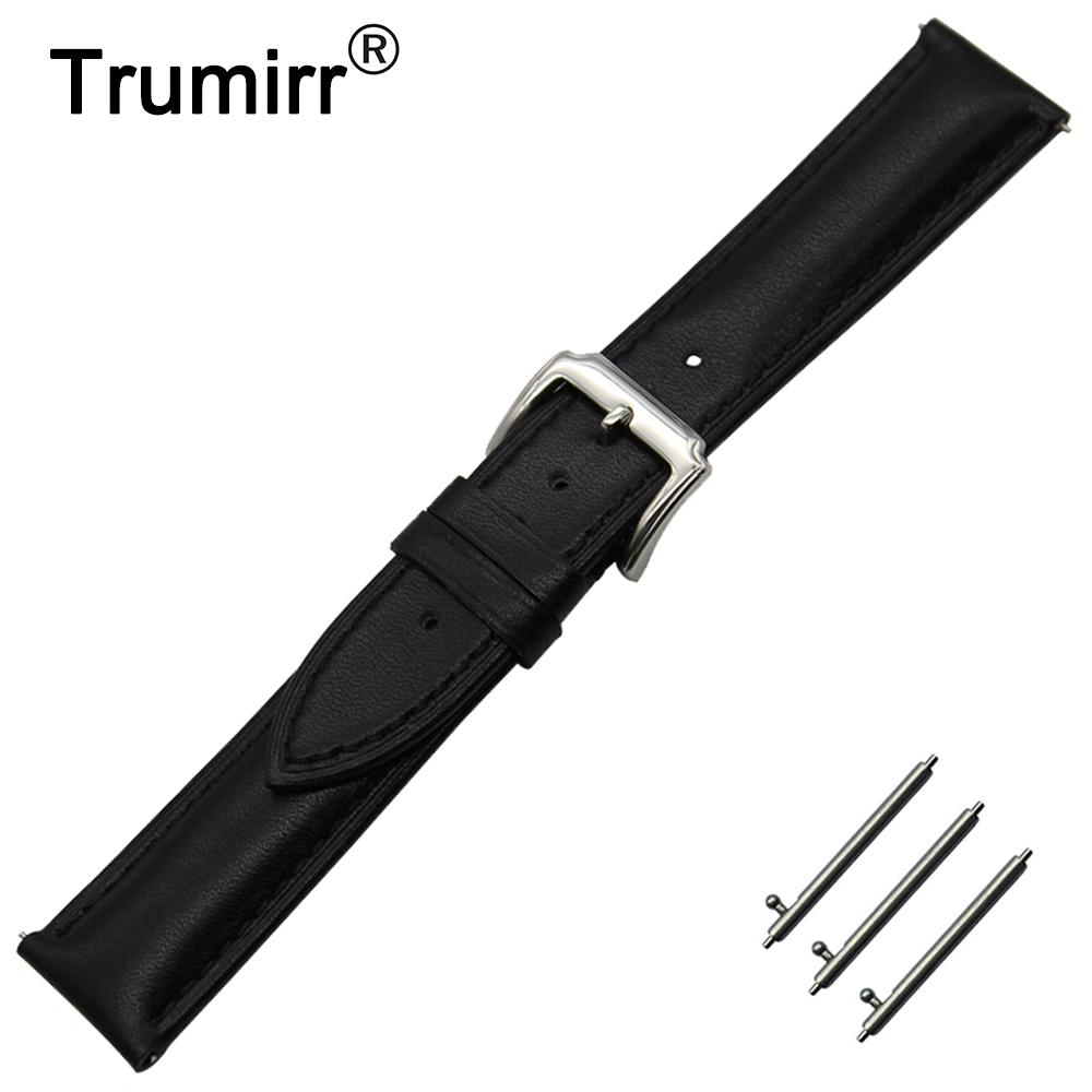 18mm First Layer Genuine Leather Watch Band Quick Release Strap for Withings Activite / Steel / Pop Wrist Belt Bracelet Black