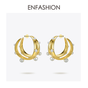Image 3 - ENFASHION Punk Pearl Double C Hoop Earrings For Women Gold Color Big Statement Earings Fashion Jewelry Pendientes Aro EC191042