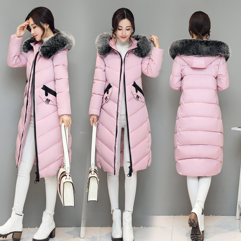 2018 Big fur winter coat thickened   parka   women stitching slim long winter coat down cotton solid down   parka   down jacket females