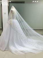 Veu De Noiva longo Elegant Veil Wedding Accesories 2017 Long White Beading Pearls Crystals Bridal Veil Cathedral Veil