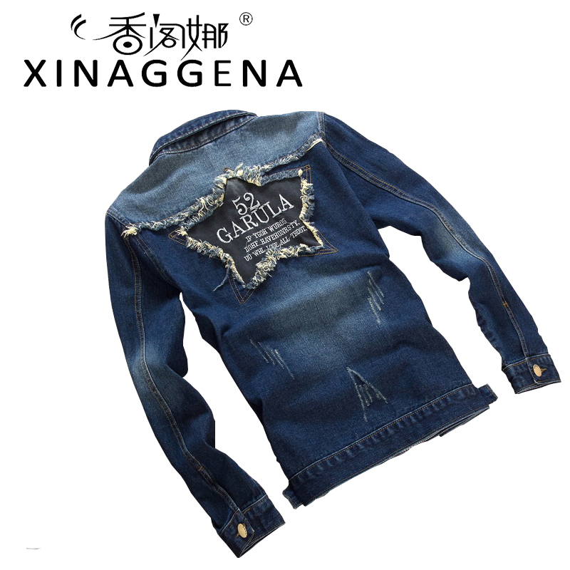 Autumn Mens Denim Jean Jacket Slim Fit Cowboy Chaqueta 3XL Button Youth Denim Jacket Cheap Jean Outerwear Coats Casaco Jaqueta