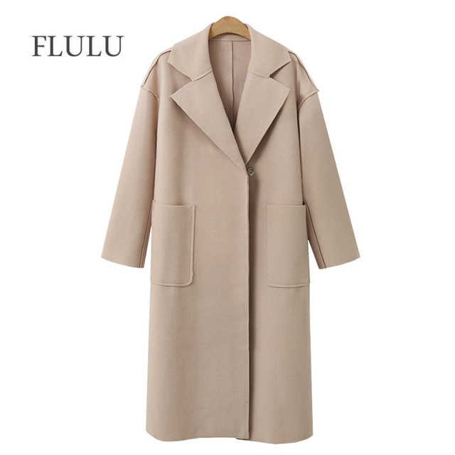 FLULU осень зима костюм Блейзер для женщин 2018 повседневное Формальные шерстяное пальто элегантные офисные женские туфли с длинным рукаво